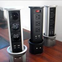 Home/Office schreibtisch steckdose/automatische lift/pneumatische pull desktop buchse/USB lade/EU/US/UK power/4 bit modul-in Stecker mit Steckdose aus Verbraucherelektronik bei