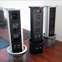 ホーム/オフィスデスクソケット/自動リフト/空気圧プルデスクトップソケット/usb充電/eu/米国/英国電源/4ビットモジュール
