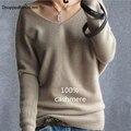 DisappeaRanceLove Marca de invierno suéter de cachemira de las mujeres de moda sexy con cuello en v suéter flojo 100% suéter de lana suéter de la manga del batwing