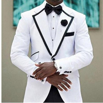mens classic suits costume mariage homme White Groom Tuxedos Shawl Lapel with Black Pants 2 Piece Wedding Men Suits