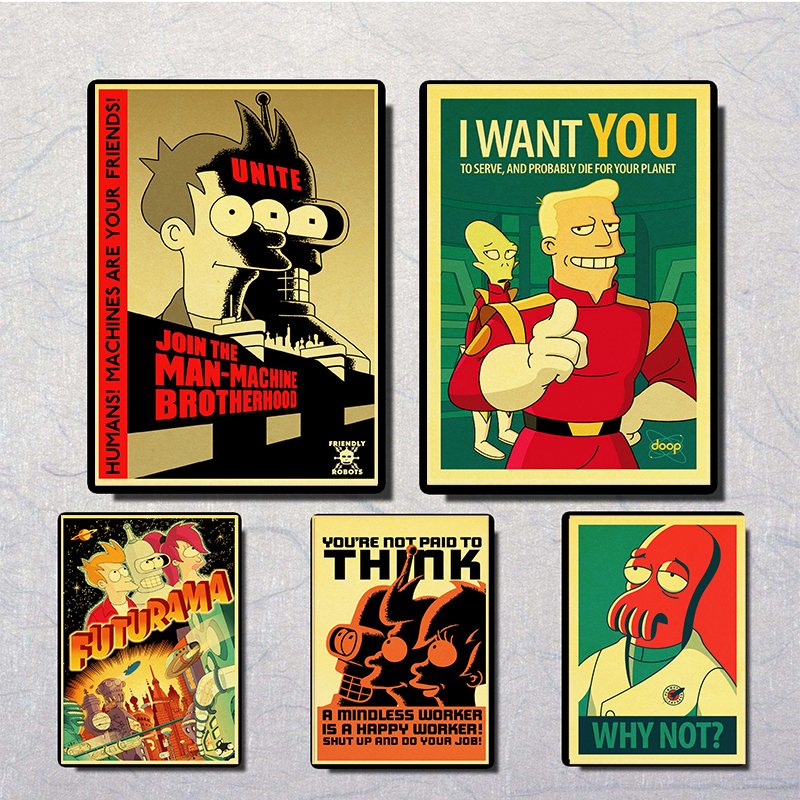 Vintage Posters American Comic TV Series Futurama Prints Wall Painting Good Quality Decor Poster Wall Painting Home Decoration