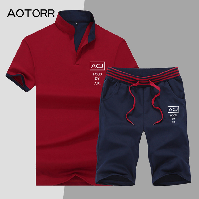 dc0d7af2e 2019 Summer Short Sets Men Casual Suits Sportswear Mens Set Tracksuits  Brand Clothing Stand Collars Streetwear Tops Tees+Shorts-in Men's Sets from  Men's ...