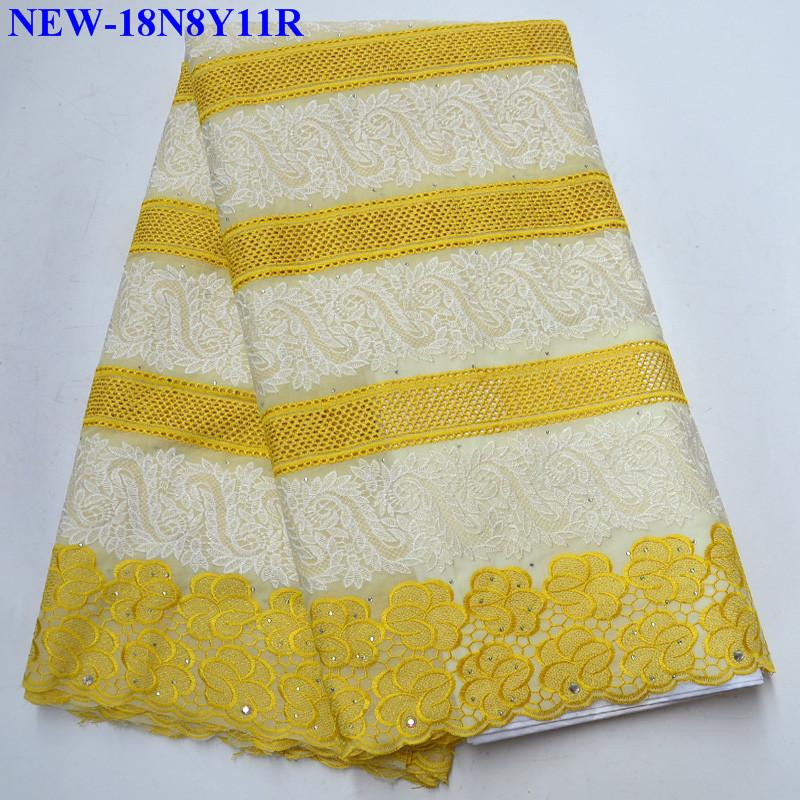 Latest Yellow Nigeria Swiss Laces High Quality Swiss Voile Laces Switzerland Cotton African Dry Lace Fabric