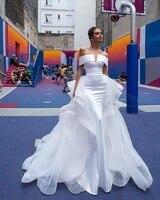 Vivian's Bridal Ins Hot Detachable Train Mermaid Wedding Dress Off Shoulder Back Customized Ruched Elegant Women Bridal Gown
