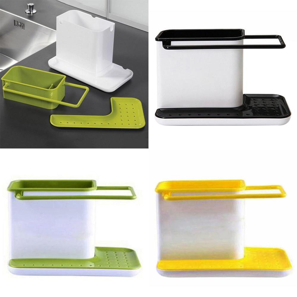 2018 Holder Sponge Kitchen Box Draining Rack Dish Self Draining Sink ...