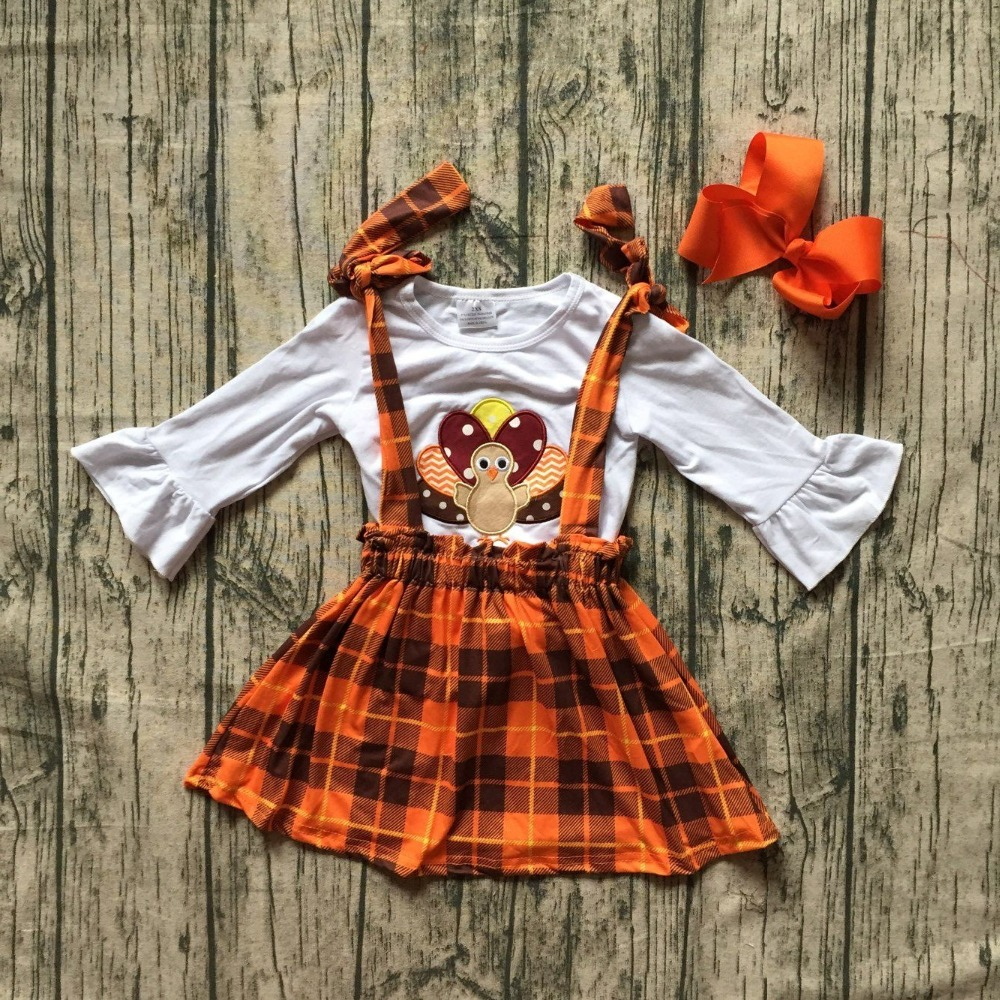 new Fall/winter Thanksgiving baby girls clothes plaid turkey cotton halter top belt Straps dress boutique long sleeve match bow цена и фото