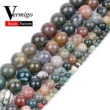 Kamień naturalny indie agaty koraliki do tworzenia biżuterii okrągły Onyx luźne koraliki 4 6 8 10 12mm bransoletka Zrób To Sam naszyjnik 15 cali Perles