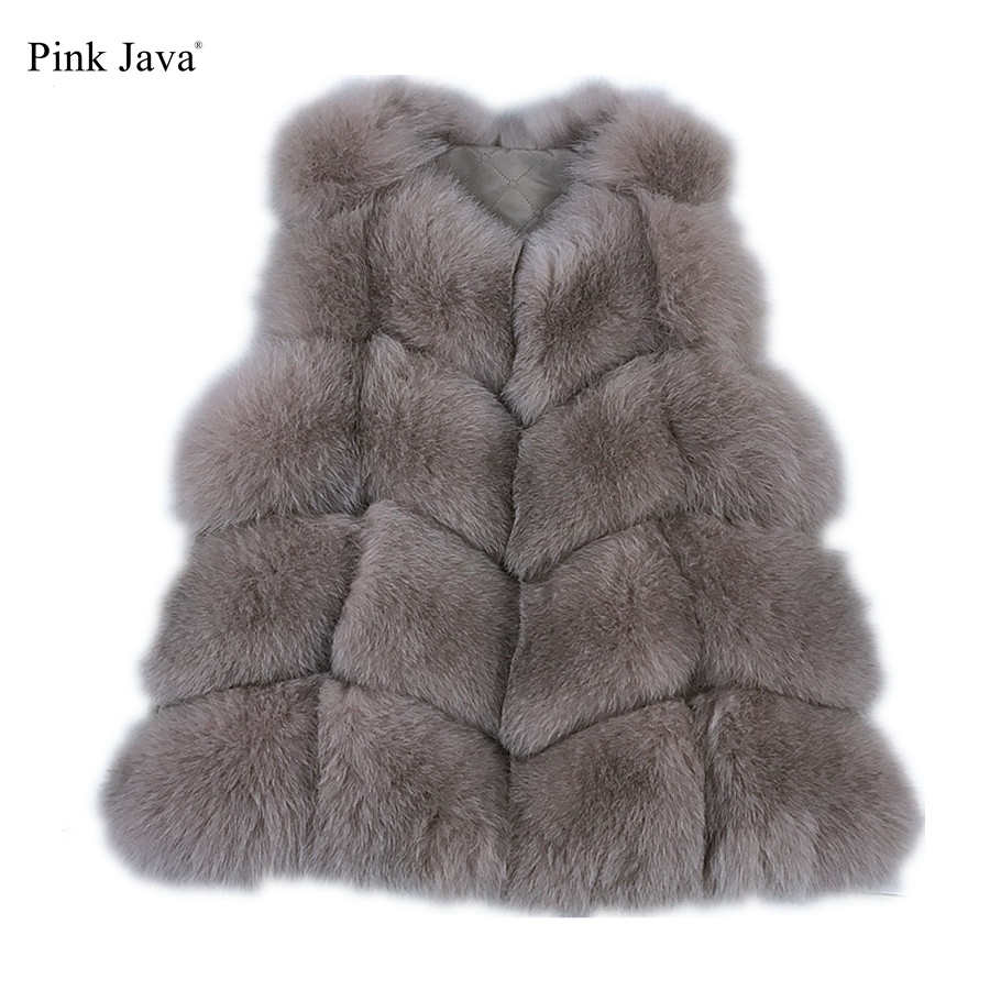 Pink Java Official Store PINK JAVA QC8082 real fox fur vest  for women winter genuine fox short vest  high quality fashion fox gilet  coat free shipping