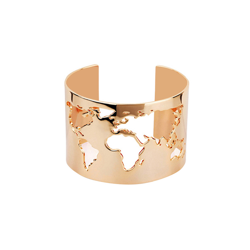 1Pc Stainless Steel Wide Laser Engraving World Map Cut-out Circle Angle Cuff Bangle Bracelet For Travel Peace Jewelry