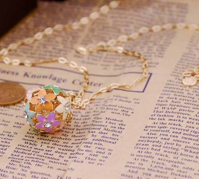 ENN022, flower ball  crystal necklace 74cm ,Free Shipping