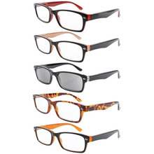 5-pack Spring Hinges Half-eye Style Wayfarer Leesbril Sun Readers R055