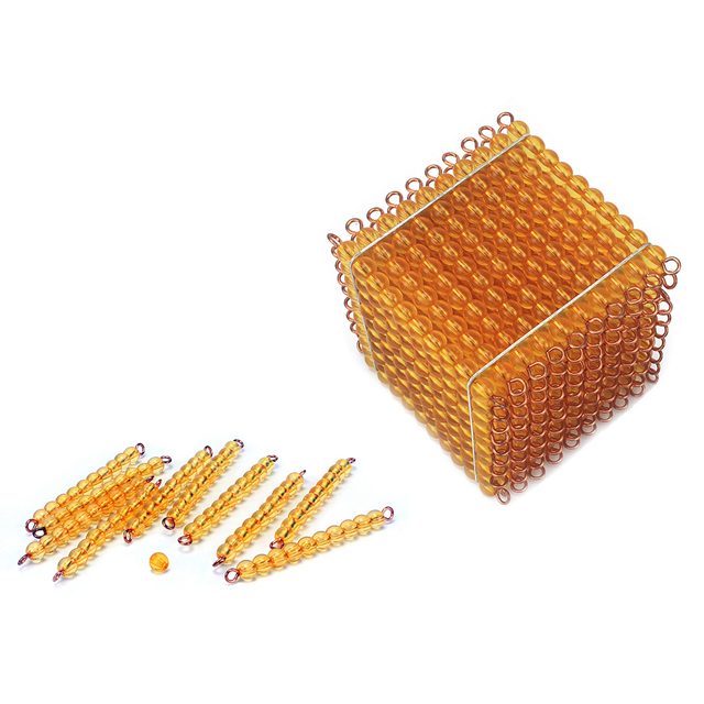 Baby Montessori Mathematics Toys Golden Beads Decimal Demo Thousand Beads Cube Suqare for Children Early Learning Developimg Toy