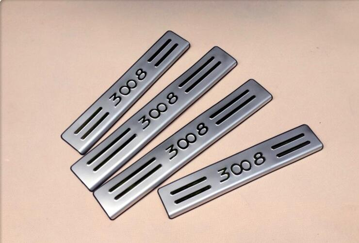 high quality Stainless Steel Door Sill Scuff Plate Car-Styling Car accessories For 2010 2011 2012 2013 <font><b>2015</b></font> Peugeot 308 <font><b>3008</b></font> 207 image