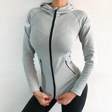 Женская куртка для бега, для йоги, на молнии, с длинным рукавом, женская спортивная куртка, для фитнеса, женские толстовки, Спортивная женская одежда, для йоги, спортивная куртка