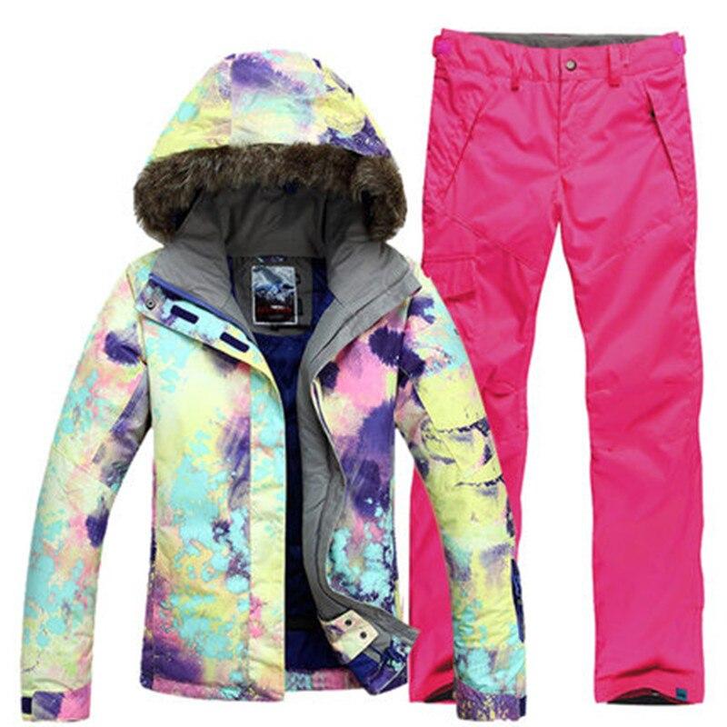 Новый GSOU снег один двойной борт Для женщин лыжный костюм волосы воротник Термальность Водонепроницаемый ветрозащитная Лыжная куртка лыжны