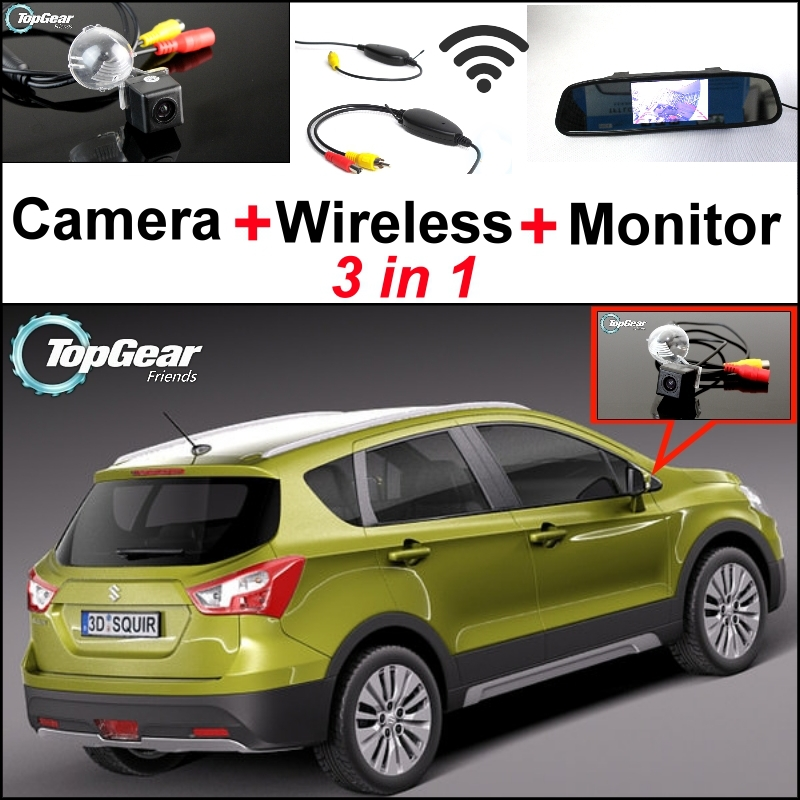3 in1 Special Camera + Wireless Receiver + Mirror Monitor Parking System For Suzuki SX4 SX-4 SX 4 Hatchback MK1 MK2 2006~2015 wireless pager system 433 92mhz wireless restaurant table buzzer with monitor and watch receiver 3 display 42 call button