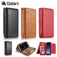 QALART Luxury Metal Zipper PU Leather Wallet Magnetic Removable Case Cover For Galaxy S7 Edge S8