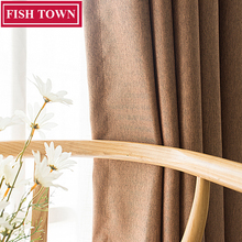 FISH TOWN Faux Linen Solid Color Blackout Curtain Window Treatment Drapes Noise Blocking Curtains Blinds for Bedroom Living Room