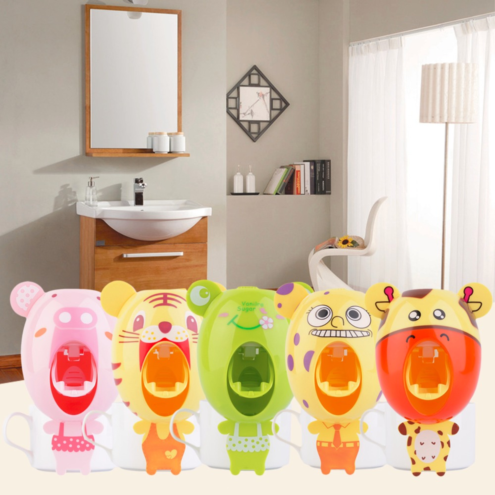 Cute cartoon toothbrush holder cute design animal for Cute bath accessories