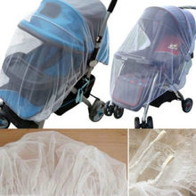 2018 Brand New 1X Whtie Stroller Pushchair Mosquito Insect Net Mesh Buggy Cover for Baby Infant Carriage(China)