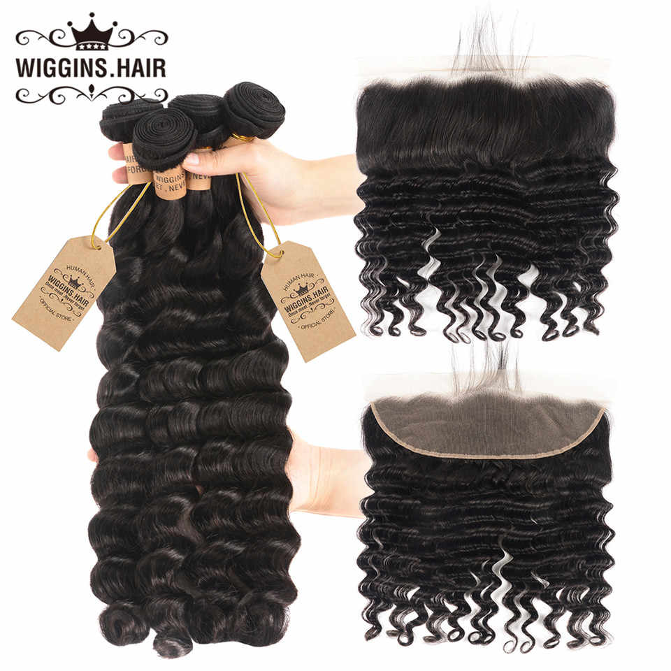 Wiggins Hair Brazilian Loose Deep Wave 4 Bundles With Closure 13x4 Lace Remy Human Hair Bundles With Frontal Pre Plucked Natural