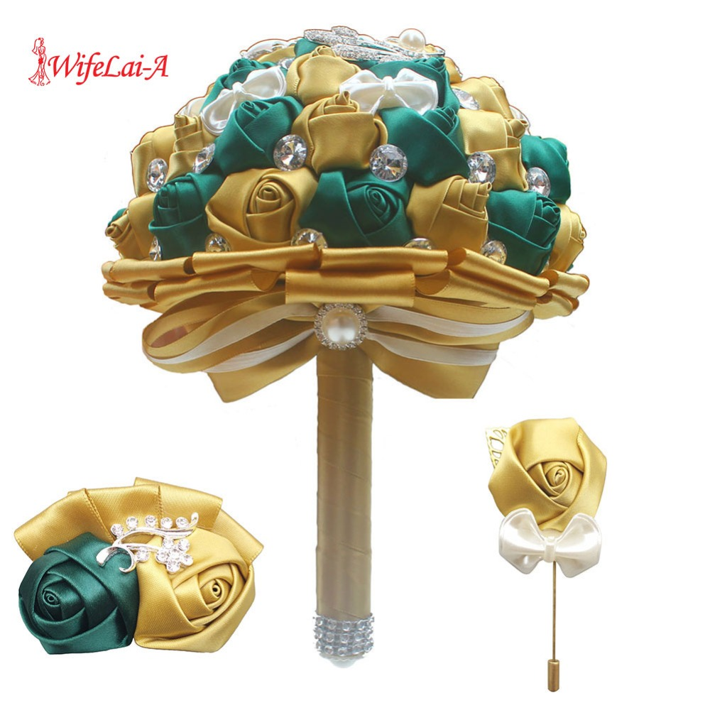 (Wrist flower and boutonniere) Dimaond Gold Silk Rose Hand Bouquet DIY Handmade Brooch Bridal Wedding Bridal Bouquet Set W2913-T