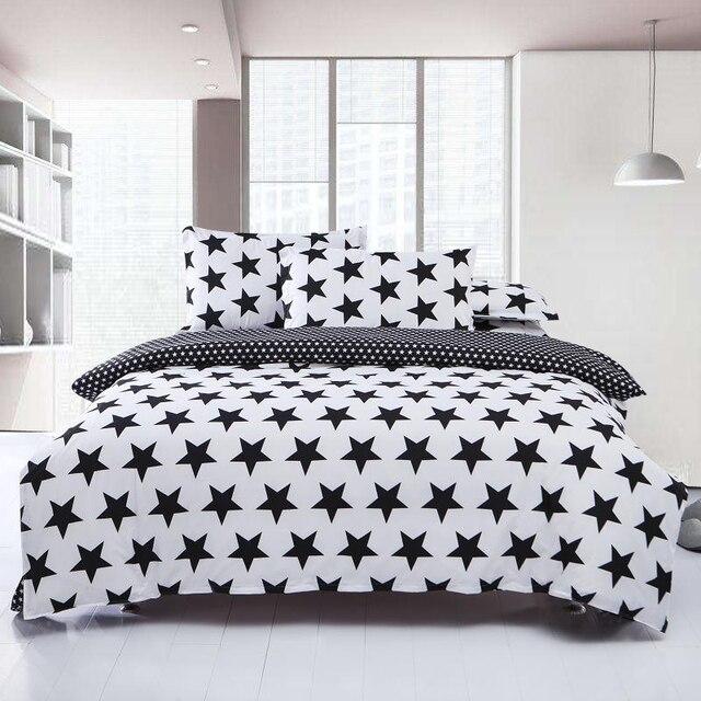 Schwarz Weiß Bettwäsche Stern Bettdecke Bettbezug Set Bettwäsche