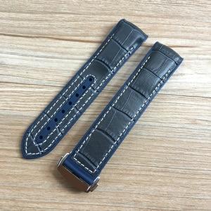 Image 5 - 20mm 22mm ciemny niebieski czarny brązowy guma z skórzany pasek do zegarka pasek do OMEGA Planet Ocean Seamaster 300 speedmaster bransoletka