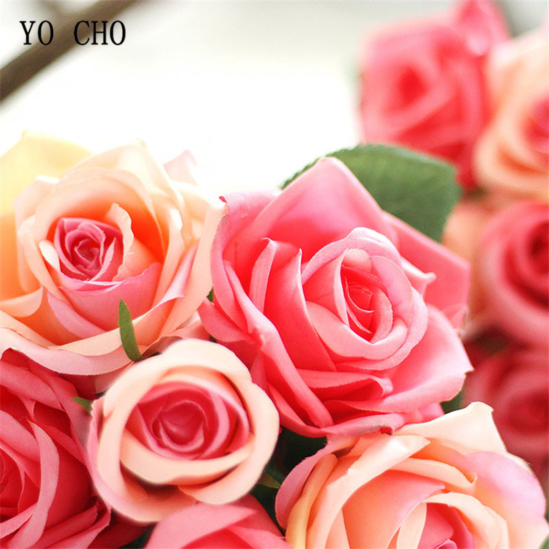 YO CHO Wedding Bouquet Polyester Roses Holder Wedding Flowers Bridal Bouquets Artificial Bridesmaids Accessories Wedding Bouquet