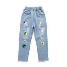 wide leg pants Fashion print children jeans kid girls elastic long denim pants casual cute trouthers