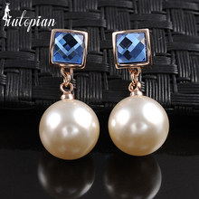 Iutopian Elegant Simulated Pearl Dangle Earrings With Austrian Crystal Stellux Gift For Girlfriend OL Jewelry #RG85297(China)