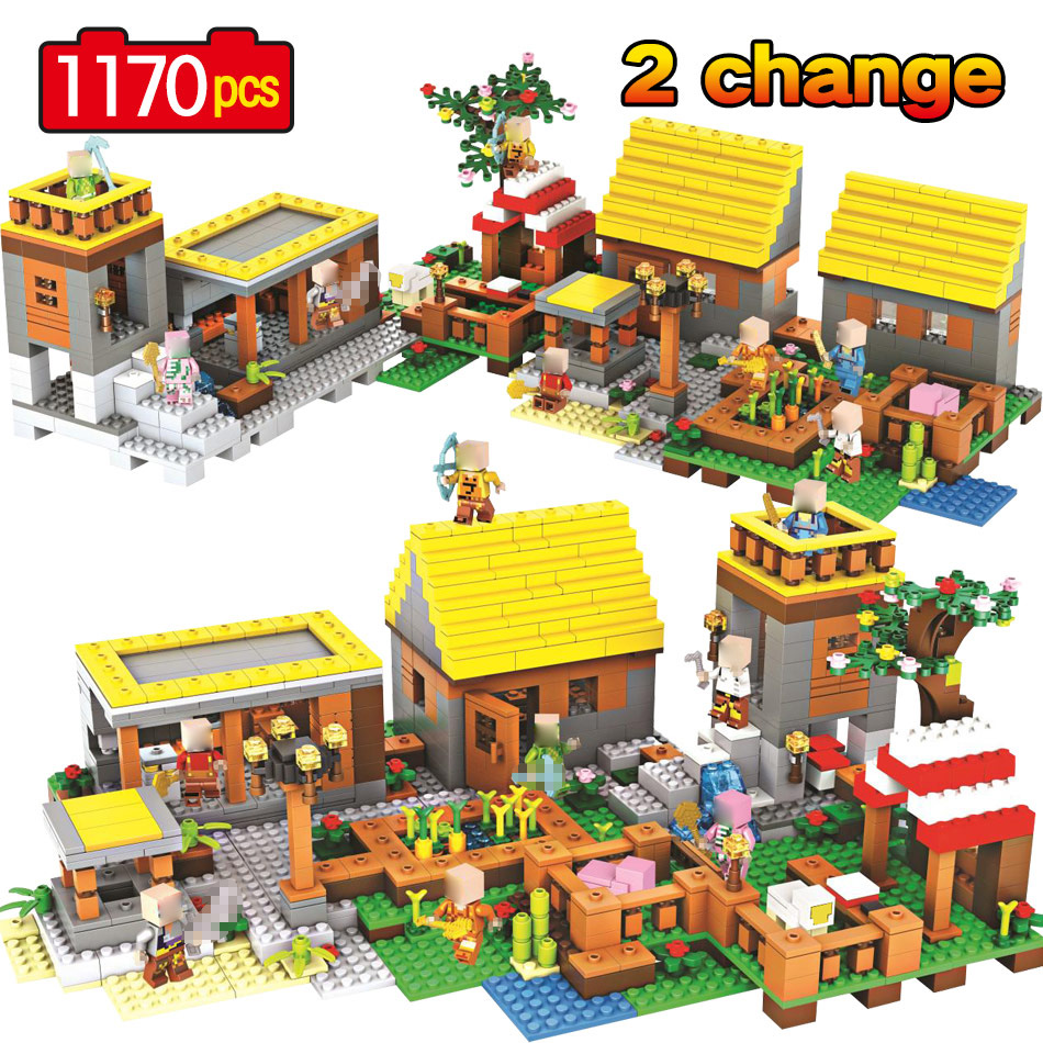 цена на My World Dream Gold house Village Legoinglys Minecrafted Building Block My Village Bricks DIY Enlighten Brinquedos Gift Kid Toys
