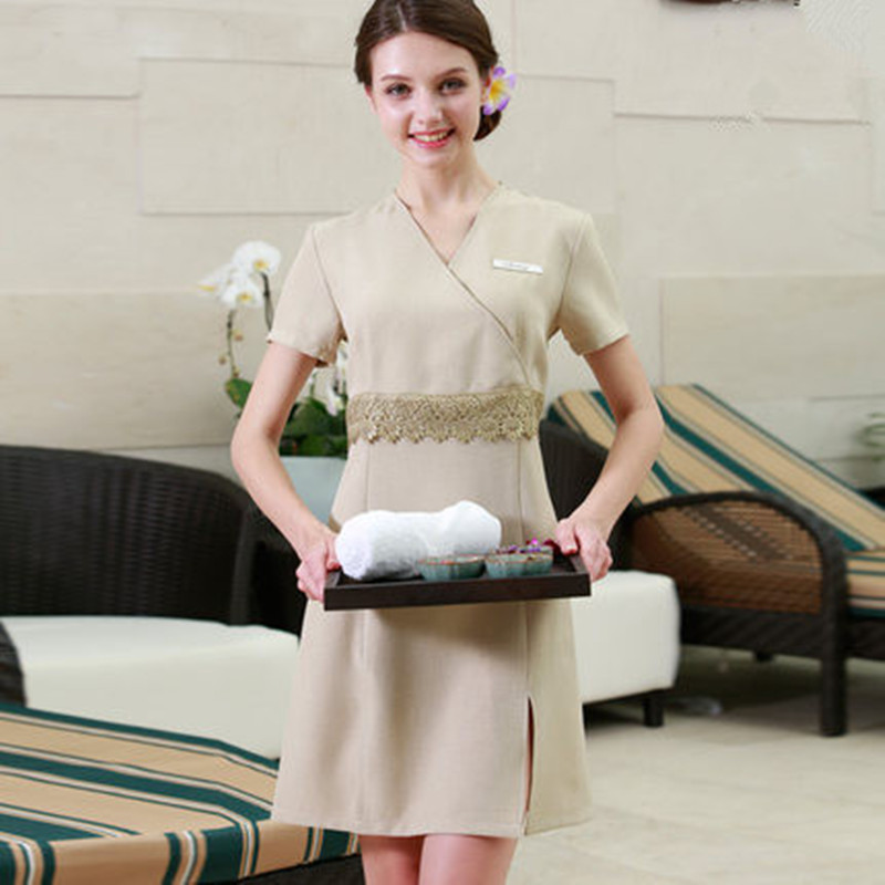 Free shipping nurse dress design quality beige beauty for Uniform spa salon