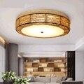 Оригинальная Ретро сельская ротанговая художественная Светодиодная потолочная лампа с плафоном для дома, гостиной, потолочная лампа, свет...
