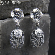 2017 New S925 Antique Silver Color Hollow Drop Earring for Women Boho Retro Vintage Flower Dangle Earing 10.5mm*17.5mm TYC212