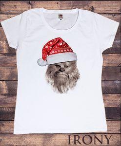 Da donna T-shirt Bianca Natale Guerre stellari Hat Chewbacc novita Stampa