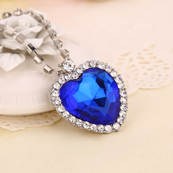 Classic Fashion Titanic Heart Of Ocean Necklace Heart Pendant Necklace Zircon Luxury Necklace Factory Direct