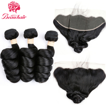 Loose Wave with 13×4 Frontal Malaysian Loose Wave 3 Bundles Human Hair Extensions with Free Part Lace Frontal Closure