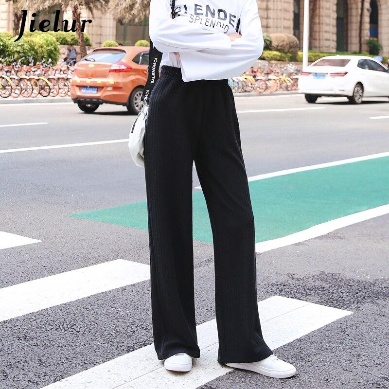 Jielur   Pants   for Women Korean Warm Casual Knitted   Wide     Leg     Pants   Autumn Winter Black Gray Loose Trousers Female Pantalones Mujer