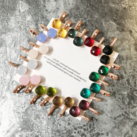 Лидер продаж конфеты Стиль Хрустальная капля серьги 17 видов цветов камни с 3 вида золотого цвета позолоченные серьги для Для женщин модные п...