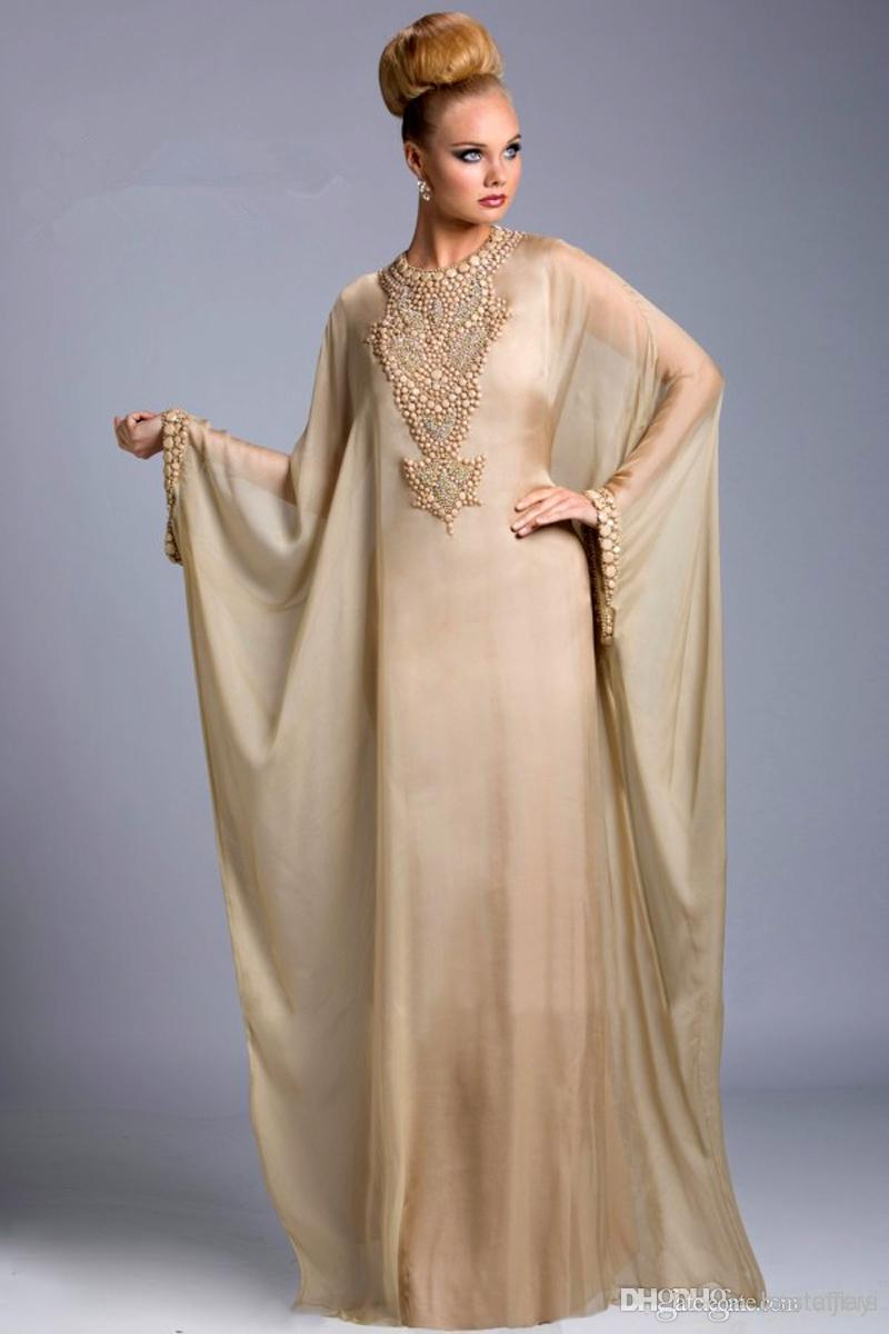 Graceful Dubai Kaftan Dress Abayas For Sale Champagne Chiffon Beaded ...