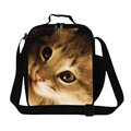 Niñas bolsa de almuerzo con aislamiento animal gato patrón mejor almuerzo aislada cooler personalizado pequeño aislado bolsa de aperitivos bolsa de comida de los niños