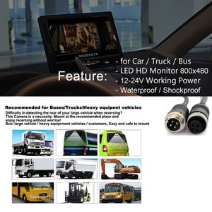 Image 2 - 4Pin Plug Connector 12V 24V 7 inch HD Monitor Reversing Night Vision Rear View Backup Camera Parking Kit for Car Bus Truck
