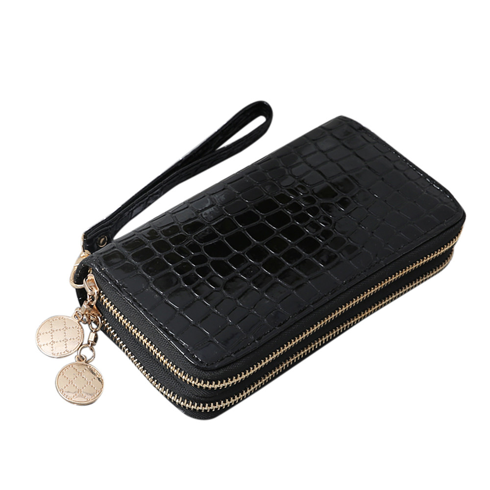 2018 New Women Fashion Coin Purse Coin Wallet Girls Purse Solid Leather Stone Pattern Double Pull Wallet Coin Bag Phone Bag