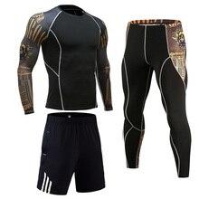 การบีบอัดเสื้อผ้าผู้ชายกีฬาชุดวิ่งออกกำลังกายความร้อนชุดชั้นในMMA RashguardชายยาวแขนยาวTightsกางเกงขาสั้น