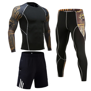 Image 1 - Compression Clothing Mens Sportwear Suit Jogging Thermal Underwear Suit MMA rashgard male Long sleeved tights leggings shorts
