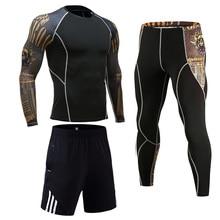 Odzież kompresyjna męski strój sportowy Jogging komplet bielizny termicznej MMA rashgard męskie rajstopy z długimi rękawami legginsy szorty