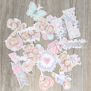 Image 2 - 22 pcs / set Hand painted watercolor bear doll flower account diary album DIY decorative homemade stickers package scrapbooking