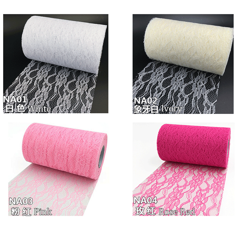 HAOCHU 6inch 25Yards White Lace Tulle Roll Gauze Fabric Vintage Rustic Wedding Decoration Outdoor Party Chair Sasha Bow Supply