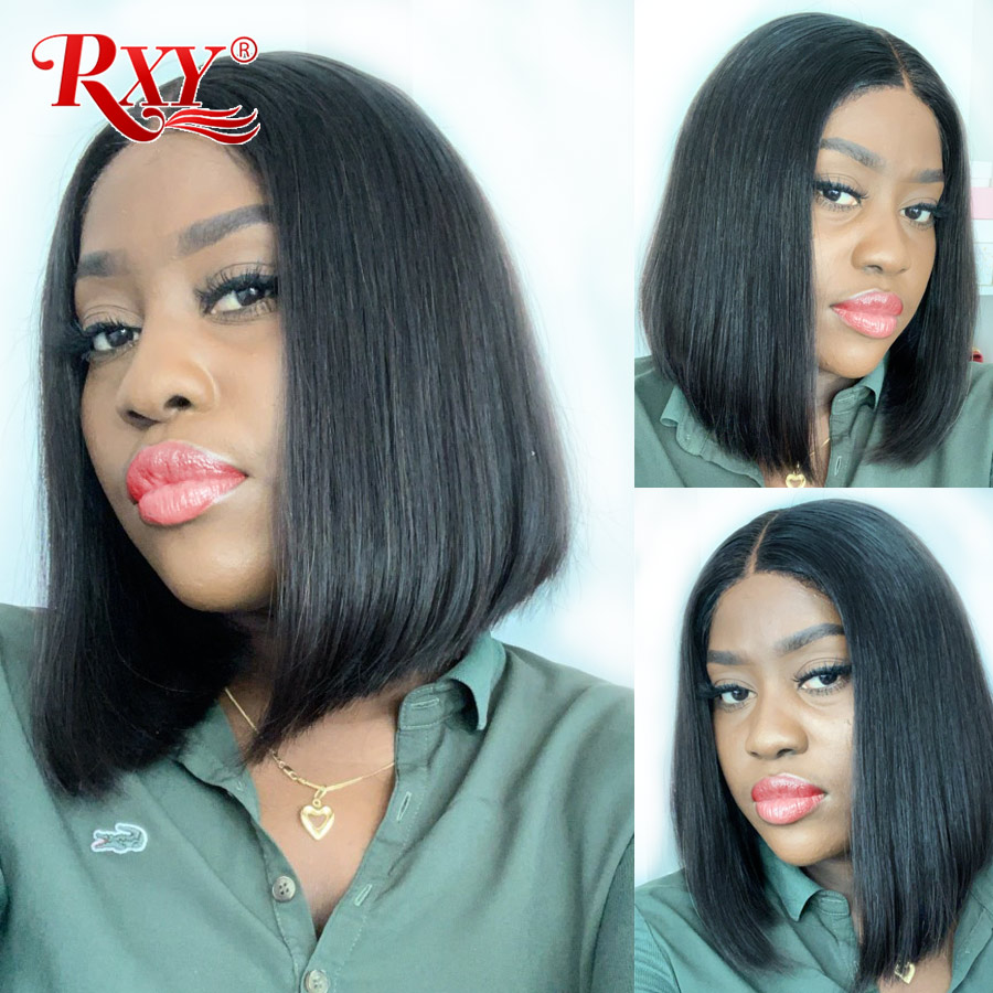 13x6 Bob Lace Front Wigs RXY Straight Bob Wig Lace Front Human Hair Wigs Peruvian Remy